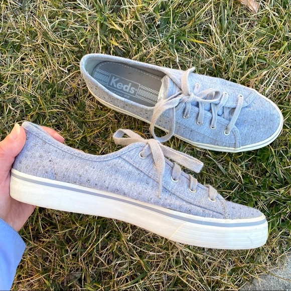 Keds gray sparkle polka dot low top shoes 8